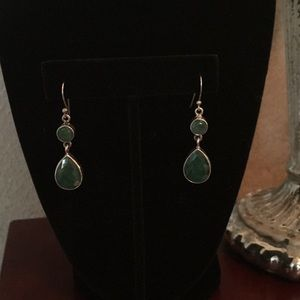 Green colored stone earrings